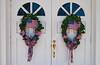 Patriotic church door  wreaths in rural Georgia, USA, America.