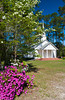 Spring blossoms and the United Methodist Church near Kirkland, Georgia, USA, America.