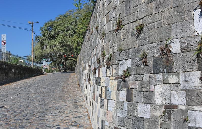 Stone Retaining Wall and Cobblestone Street