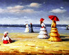 Painting of a day at the shore.