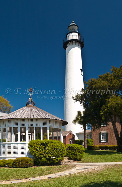 The St. Simons Historical Lighthouse on St. Simons Island, Georgia, USA, America.