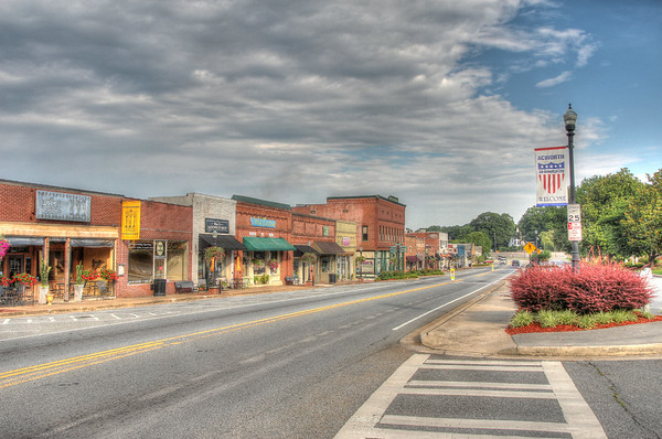 Main Street in Acworth Georgia.  There are several restaurants and shops that are worth the trip.  Take a leisurely stroll down the sidewalk, window shop, check out the bookstore, and choose one of the many fine eatery's.
