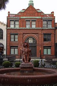 Lion fountain in front of Savannah Cotton Exchange Savannah, GA 12/2012