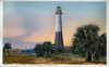 An old postcard view of the Tybee Island Lighthouse