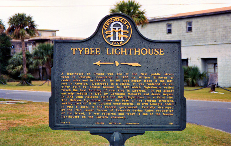 Ten families settled on Tybee Island to begin construction of the daymark tower.  Mosquito infested marshes spread disease among the workers and slowed their progress.  In 1736 when Oglethorpe came to inspect the work and saw the lack of progress he threatened to jail the head carpenter.  The construction crew was motivated and quickly completed an octagonal 90 foot tower of brick and wood.
