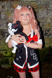Black, Blouse, Boots, Bow, Buttons, Cosplay, Cosplayer, Crown, Danganronpa, Demon, Dress, Female, Gold Anime, Hair Pins, Jacket, Junko Enoshima, Location Shoot, Manga, Pink, Railway Bridge, Red, Rings, School Girl, Skirt, Stone, Tartans, Teddy, Teddy Bear, Tie, Watch, White, Wig