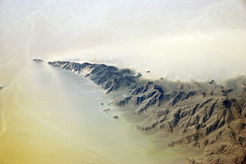 Deeply dissected mountain spur in the Sahara, southern Algeria
