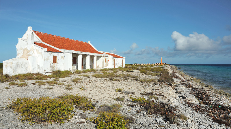 Historical building and slave huts in southern Bonaire