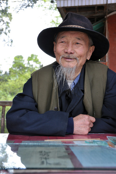 Fortune teller at Taoist temple in Sichuan, China
