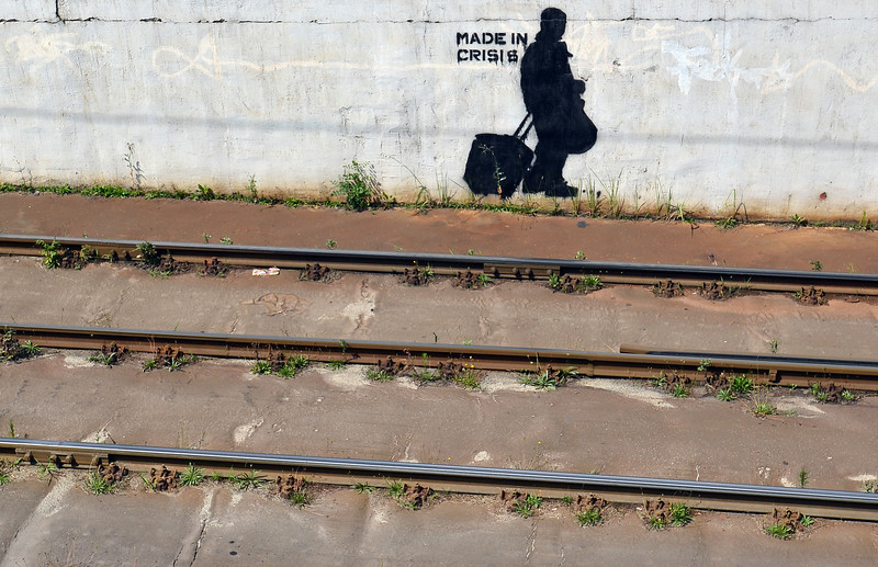 'Sign of the times' along tram line in Budapest, Hungary