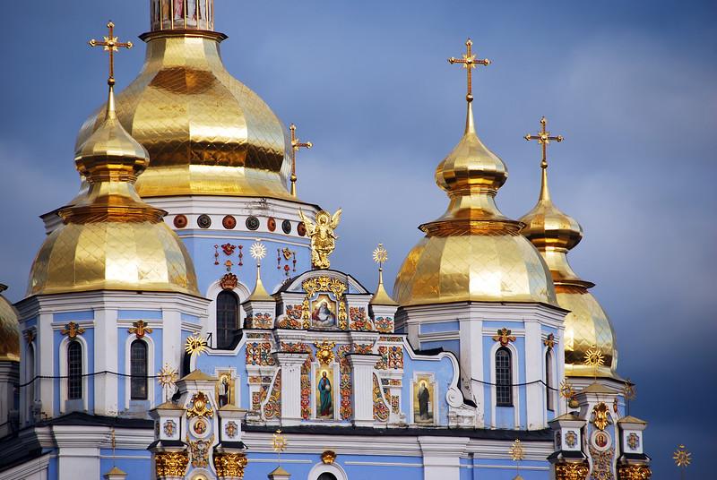 Golden roofs on Orthodox church in Kiev, Ukraine