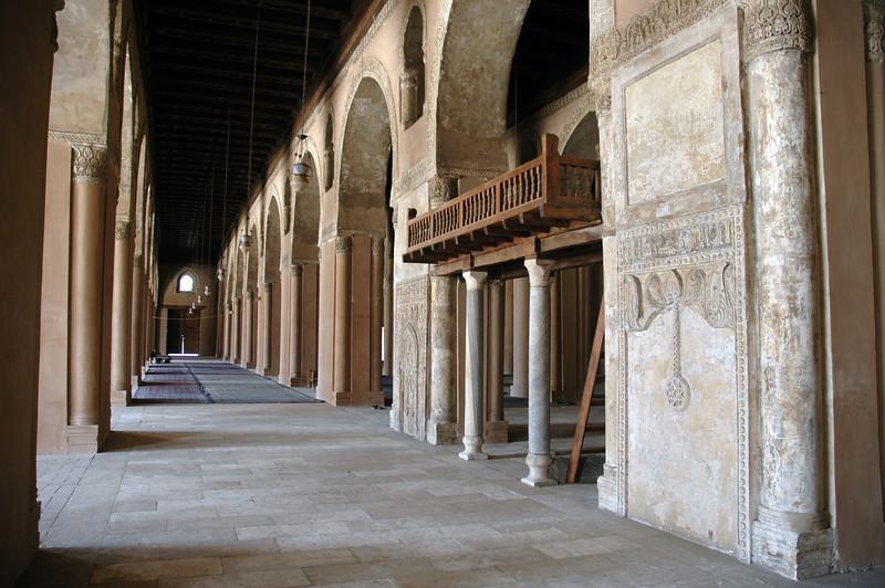 Interior corridor of mosque in Cairo, Egypt