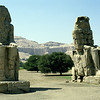 Twin giant statues of Pharaoh Amenhotep III (Colossi of Memnon) at the Theban Necropolis, Egypt