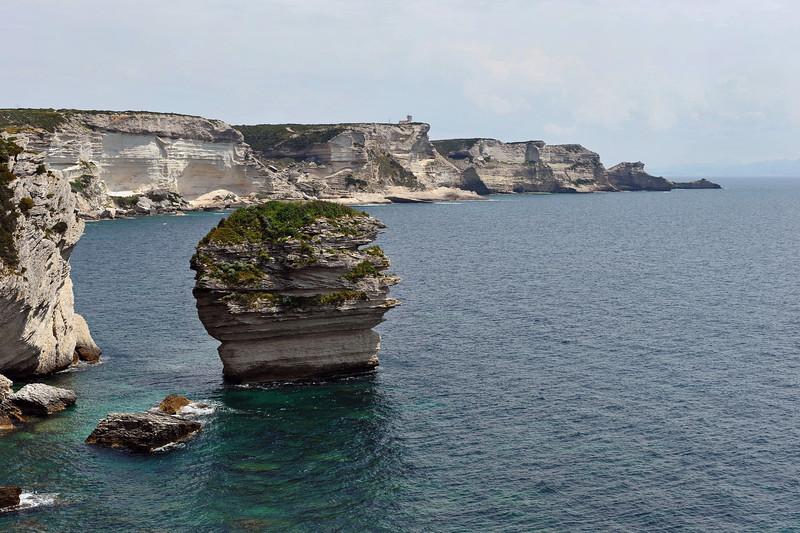 New lighthouse on the limestone cliffs south of Bonifacio on the island of Corsica, France