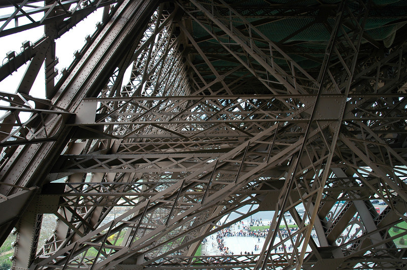 Lower midsection of the Eiffel Tower in Paris, France