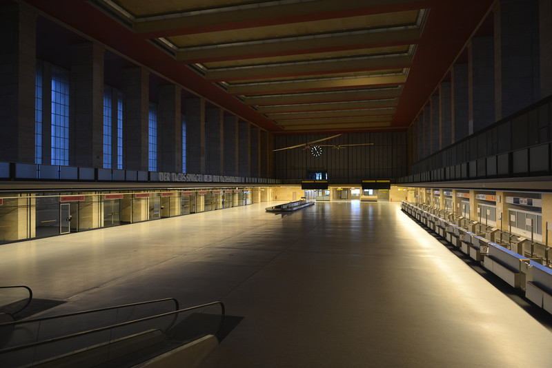 Nazi-era airport terminal of Tempelhof in Berlin, Germany (abandoned in 2008)