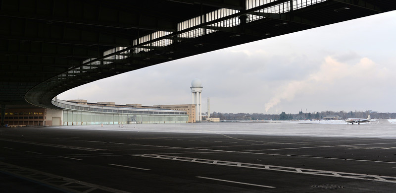 Giant air terminal (pre-WWII) at the disused Tempelhof airport in Berlin, Germany