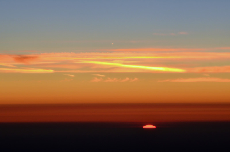 Sunrise viewed from 30,000 ft above Germany