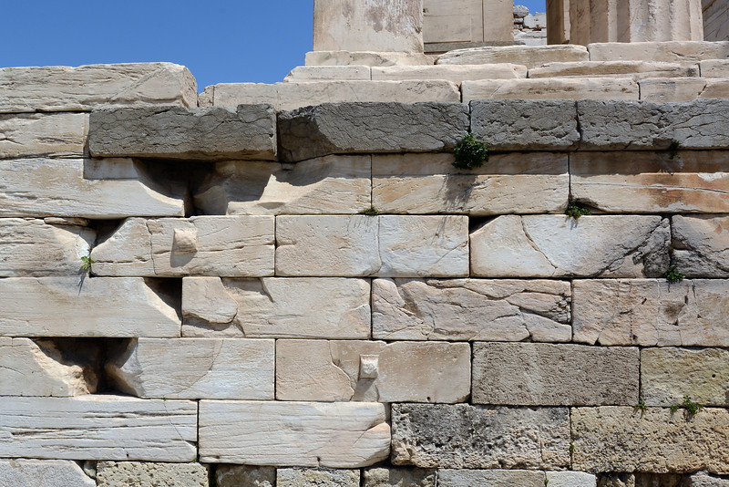 Marble foundations of democracy at the Acropolis in Athens, Greece
