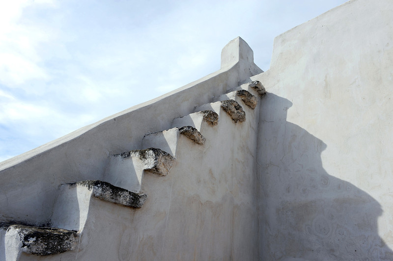 'Stairway to heaven' along rural chapel on Tinos island, Greece