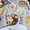 Traditional lunch in a small taverna in Rafina harbour, Greece