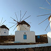 Restored windmills on Mykonos, Greece