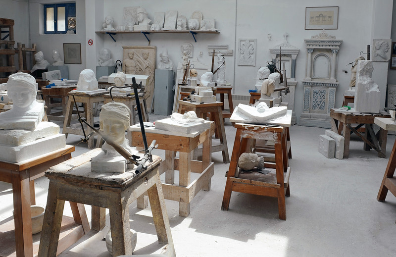 Marble workshop at the School of Fine Arts in Pirgos on Tinos island, Greece