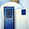 Entrance to Cycladic-style house on Santorini, Greece