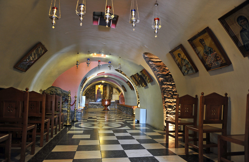 Vaulted subterranean church at the Panagia Evangelistria shrine in Tinos, Greece