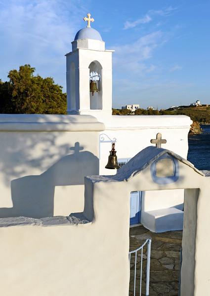 Chapel along the coast of Tinos island, Greece