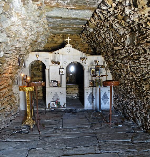 Primitive chapel of Profitis Ilias near the summit of Mount Ochi (1398 m) on the island of Evia, Greece