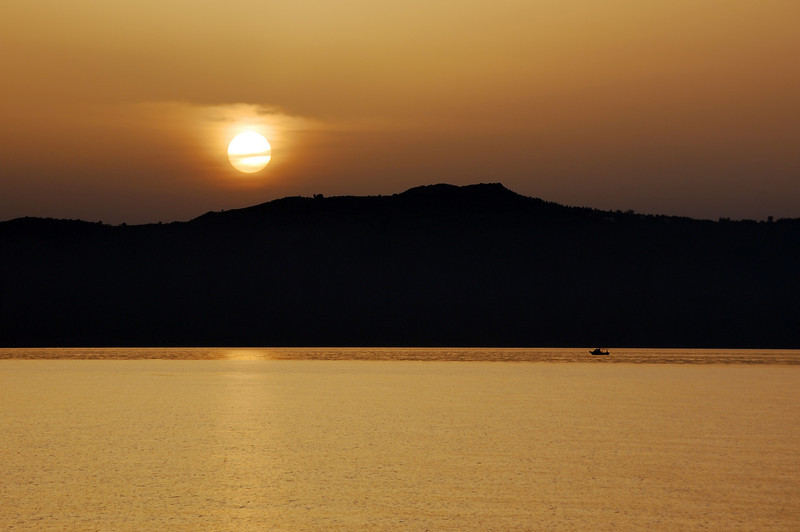 Sunset over Souda bay on Crete, Greece