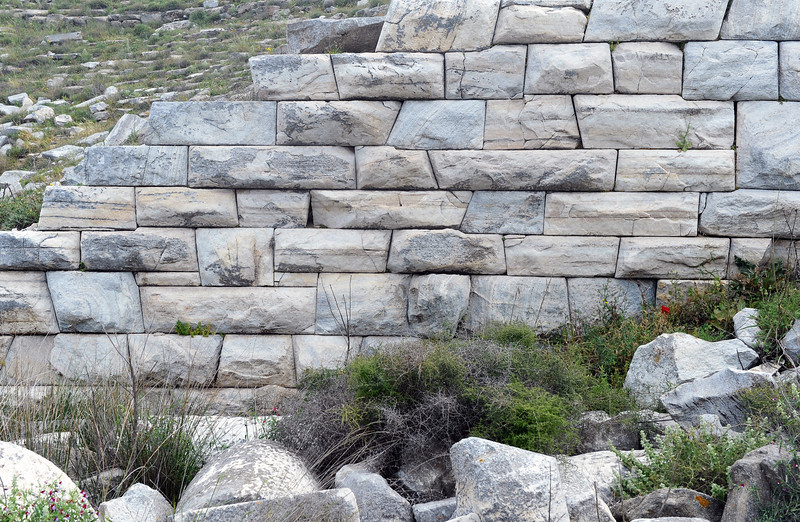 Cyclopean masonry in the outer wall of the amphitheater on Delos island, Greece