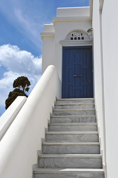 Cycladic home adorned with marble, Tinos, Greece