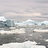 Disintegrating icebergs at exit of the Ilulissat Icefjord, west Greenland