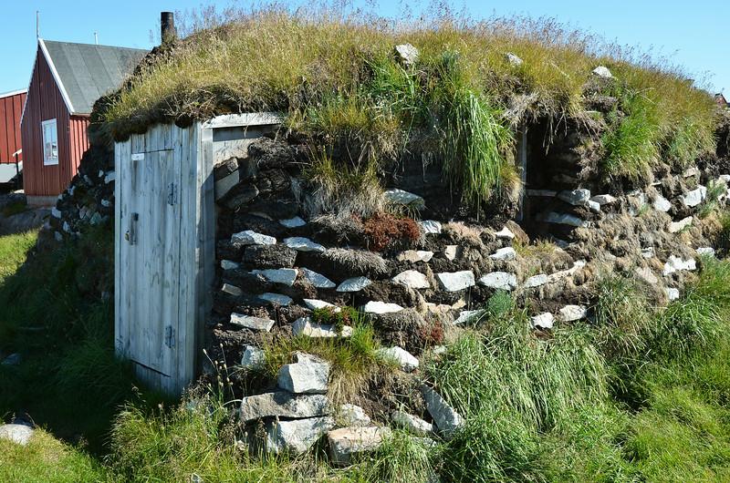 Original peat house in Aasiaat, west Greenland