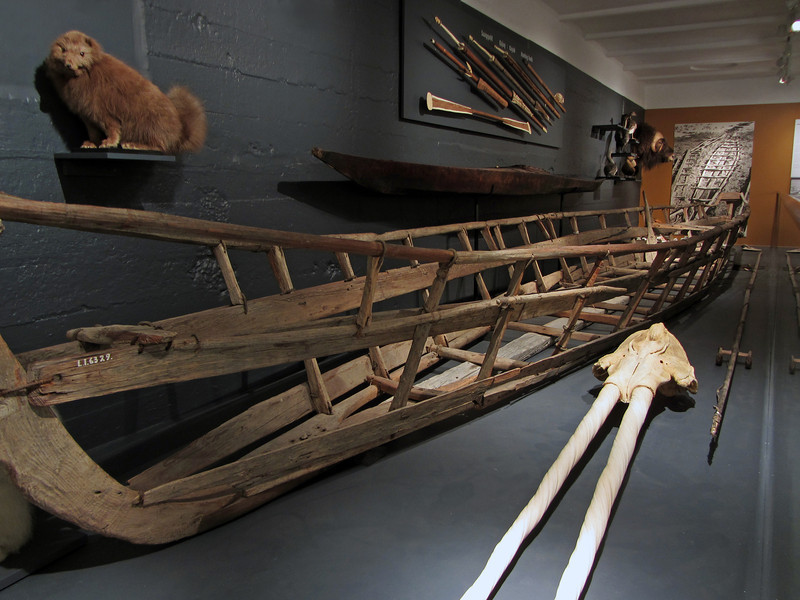 Old boat and double-tusked narwhal skull, Greenland National Museum in Nuuk