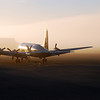 Midnight sun on vintage DC-6, Alaska North Slope (70º North)