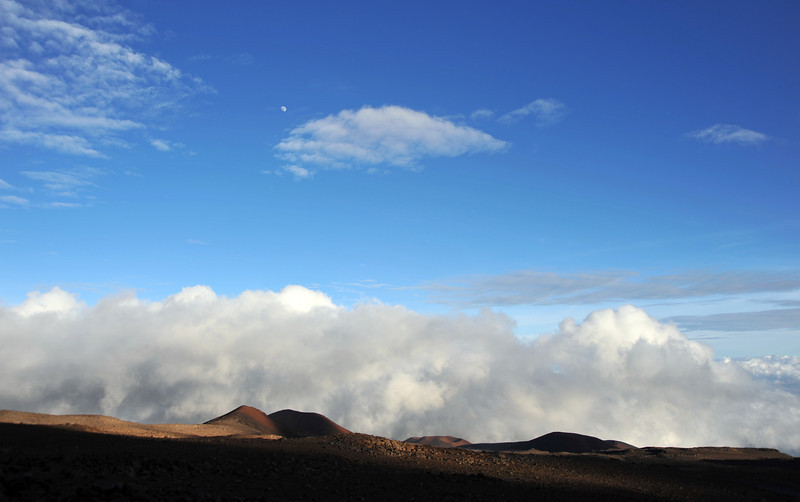 Afternoon skies above the upper slopes of Mauna Kea (4200 m), Hawaii
