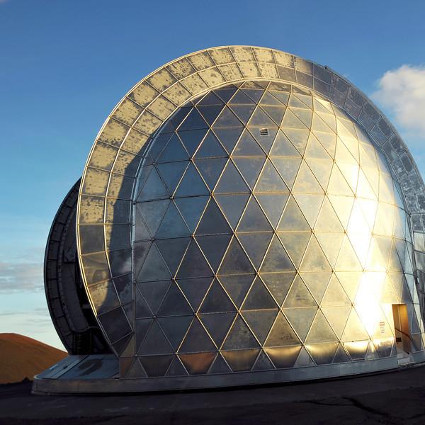 Metallic housing of the Caltech Submillimeter Observatory on Mauna Kea (4200 m), Hawaii
