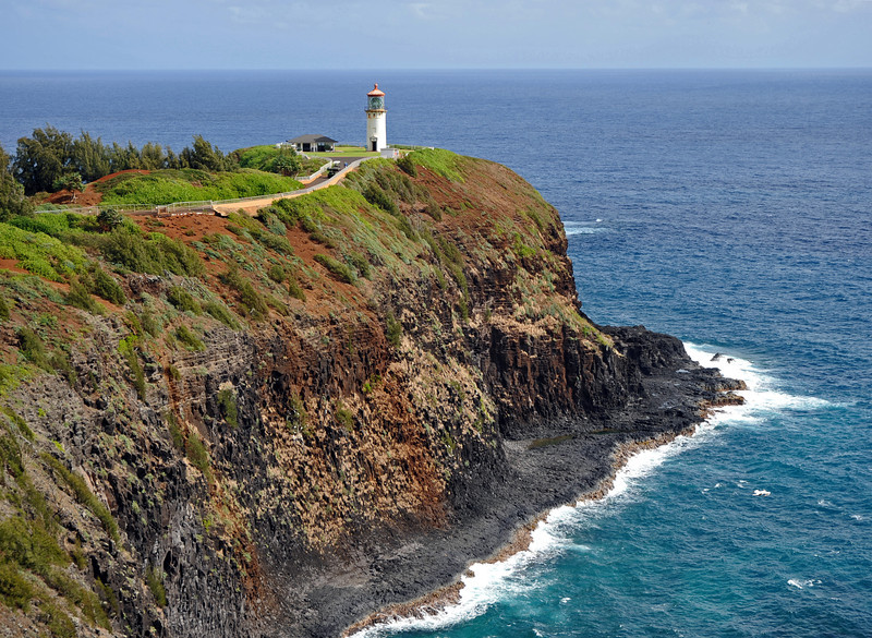 Kilauea Point lighthouse on the north coast of Kauai island, Hawaii