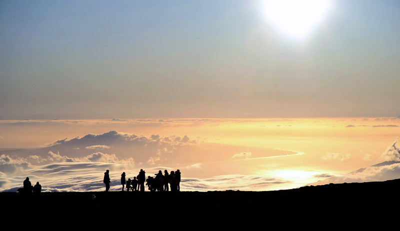 Waiting for sunset at the top of Maui's Haleakala volcano (2970 m), Hawaii