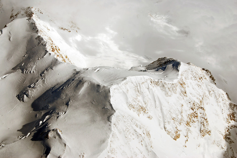 Aerial view of the summit of Denali (6190 m), previously named Mount McKinley, Alaska