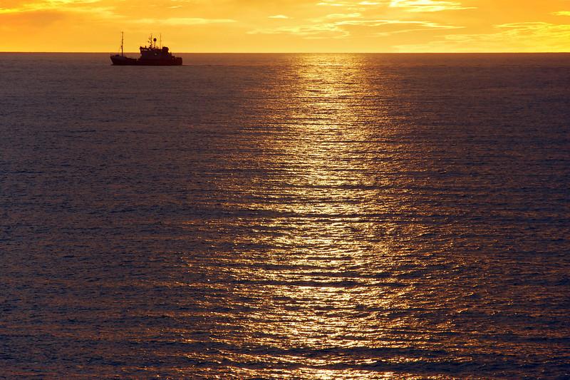 Midnight sun over the Chukchi Sea west of Barrow, Alaska's northernmost point, USA