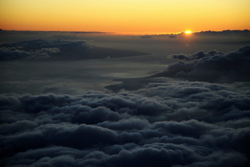 Sunset over Lana'i island from Haleakala volcano on Maui, Hawaii