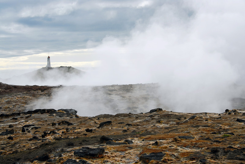 Reykjanes geothermal area and lighthouse, southwest Iceland