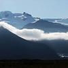 Morning fog over glacier at the base of the Öræfajökull volcano (2119 m) near Skaftafell, Iceland