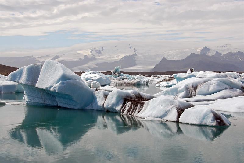 Jokulsarlon glacial lagoon with melting icebergs, Iceland