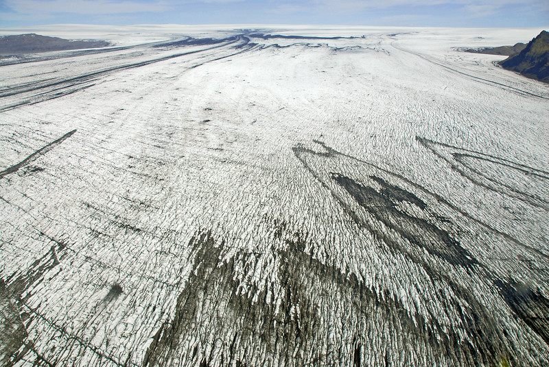 Giant Skeiðarárjökull glacier with folded volcanic ash-layers and moraines, Iceland