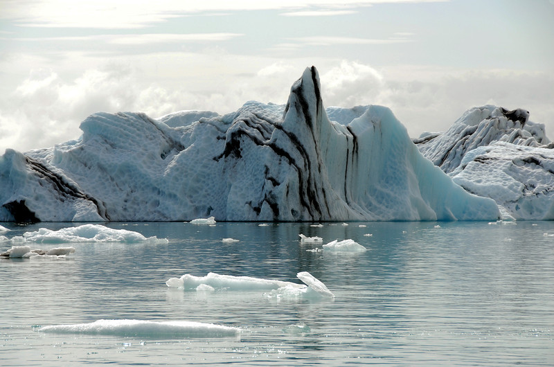 Iceberg with volcanic ash layers, Iceland